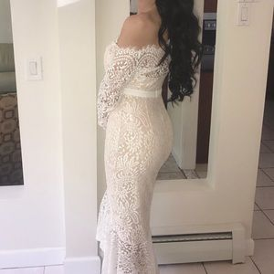 White lace off the shoulder mermaid dress